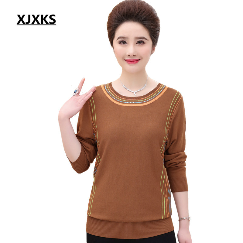 XJXKS Mother Clothing 2018 New Fashionable Women Pullover And Sweater  Spring Streped Casual Women s Sweaters 5568b1491