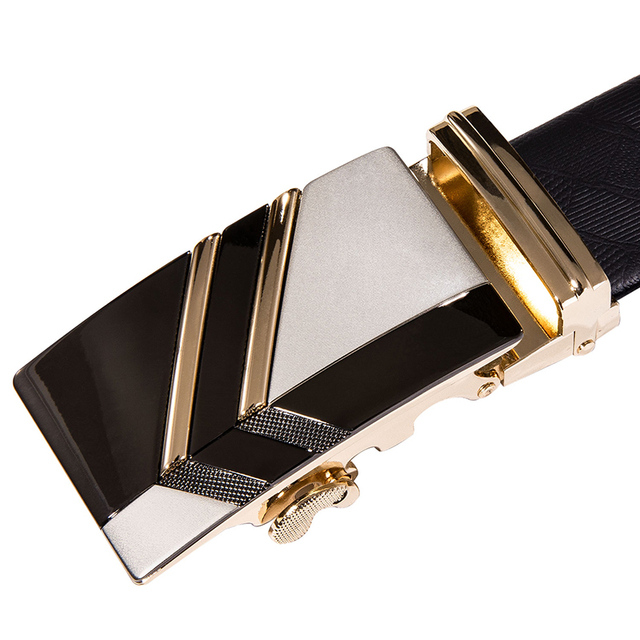Hi-Tie Brand - Gold Automatic Buckle Genuine Leather Belt 3