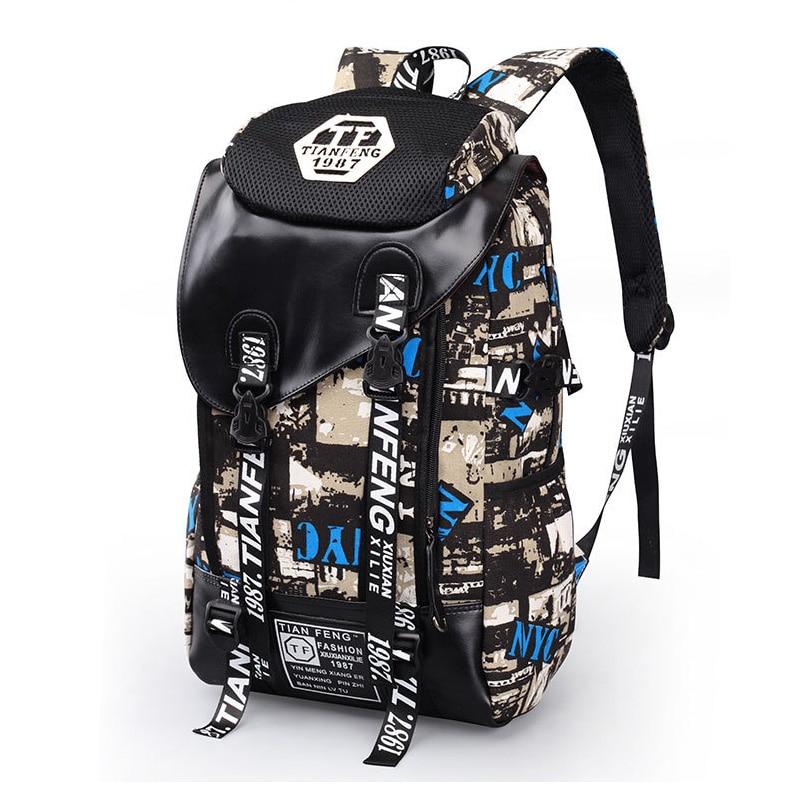 Graffiti Laptop Backpack Men Canvas School Bag Teenage Boys Large Cartoon Letters Printing Backpacks Travel Bags Mochila Xa1788c #3