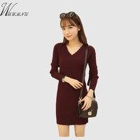 Wmwmnu 2017 New Fanshion Slim Winter Sweater Dress Women Long Sleeve Thicken Warm Autumn Dress And