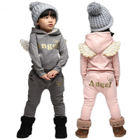 Winter Boys Girls Clothing Set Children Tracksuits 2018 Wings Letter Hooded Tops Pants 2pcs Girls Suit