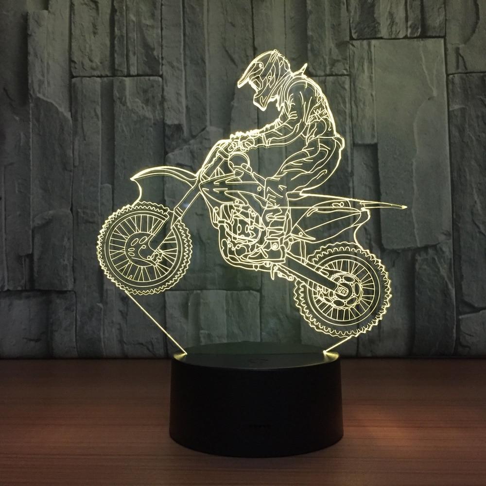 Novelty 3D Table Lamp 3D Motocross Bike