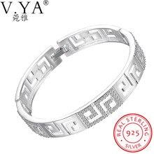 V.Ya Original 925 Sterling Silver Bracelets for Women Fine Jewelry Words Braceletes & Bangle with CZ Women Bracelet Wedding Gift