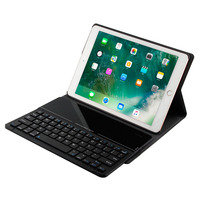 For iPad 9.7 inch 2018 Detachable Glass Unique Design Wireless Bluetooth 3.0 Keyboard + Slim Folio Stand PU Leather Case Cover