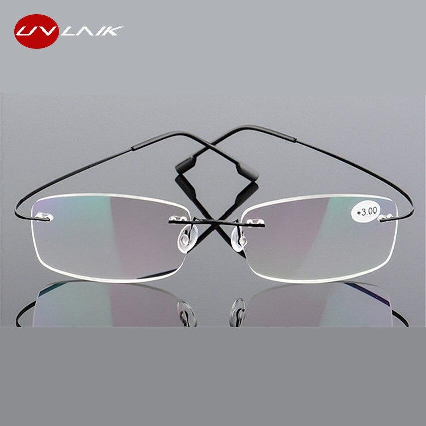 UVLAIK Reading Glasses Tr90 Rimless Men Women Reading Glasses High Definition Anti Fatigue Ultralight Frameless Eyewear