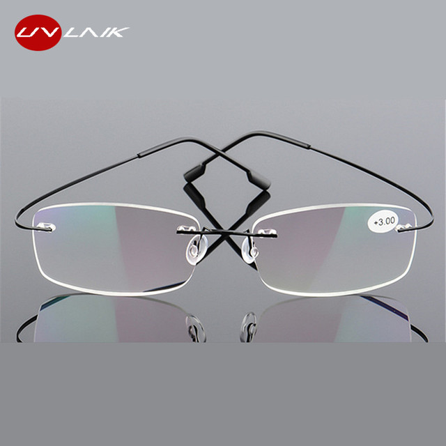 UVLAIK Reading glasses tr90 Rimless Men Women Reading Glasses High Definition Anti Fatigue Ultralight Frameless Eyewear