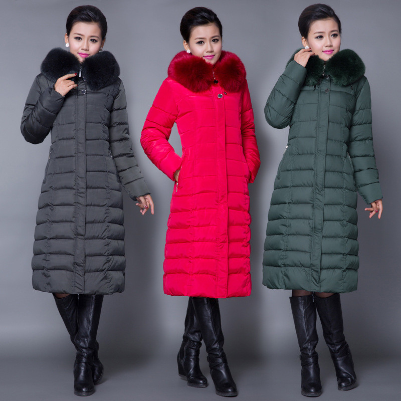 Fashion Long Thick Warm Cotton Women Fur Collar High Quality Winter Women Down Jacket   Parka Plus Size Slim Coat  Overcoat 2016 new long down jacket for women winter coat parka solid coat fur collar woman casual plus size fashion slim casacos feminino