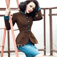 FREE SHIPPING Le Palais Vintage Elegant Contrast Color Slim High Waist Pencil Dress Suits And Suit Coat High Quality Clothing