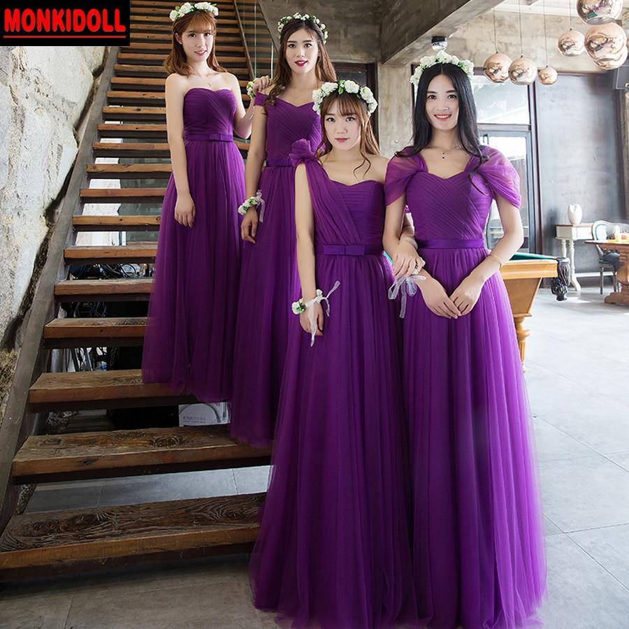 Elegante Tul Largo Púrpura Vestidos de Dama de 2017 Cap Mangas ...