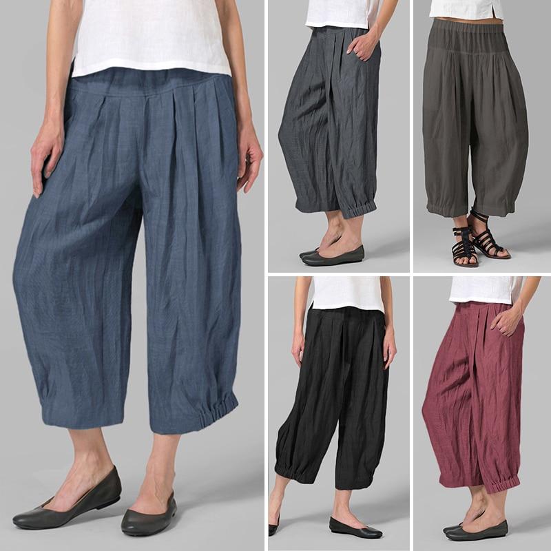 VONDA Women Casual   Wide     Leg     Pants   2019 Spring Autumn High Waist Harem   Pants   Solid Oversized Trousers Plus Size Vintage Bottoms