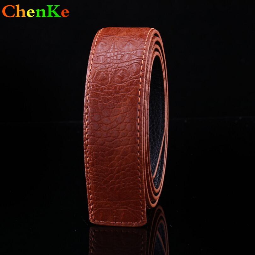 ChenKe marca de lujo Cowskin cinturón de cuero mujeres hombres sin hebilla del cinturón Real patrón de Litchi cuero genuino cinturón de moda para hombres