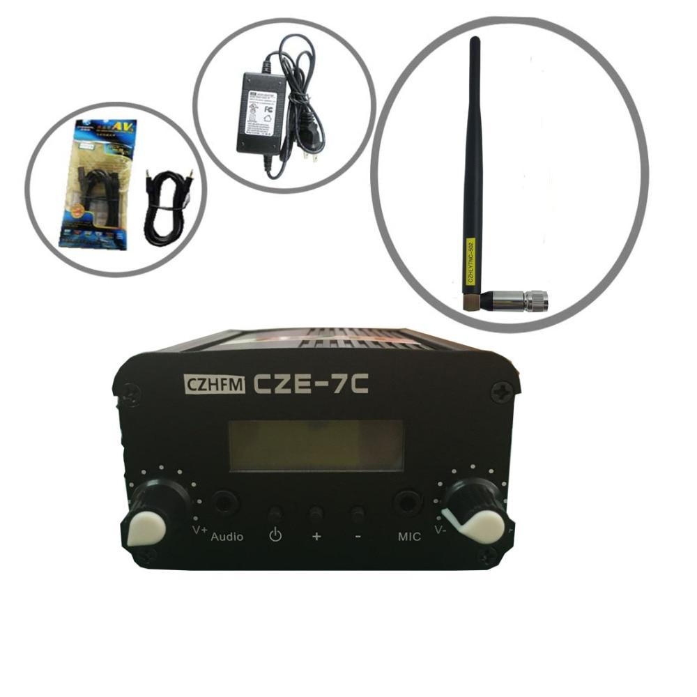 CZH CZE-7C 7 W FM stereo pll trasmissione trasmettitore 76-108 MHZ + rubber antenna kitCZH CZE-7C 7 W FM stereo pll trasmissione trasmettitore 76-108 MHZ + rubber antenna kit