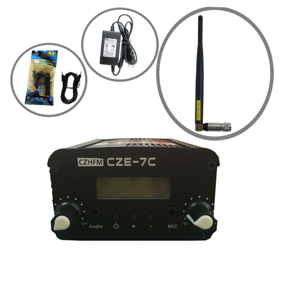 CZH CZE-7C  7W  FM stereo PLL broadcast transmitter 76-108MHZ +rubber antenna kit 0 5w 500mw czh 05b cze 05b fm transmitter kit silver 1 4 wave gp antenna power supply