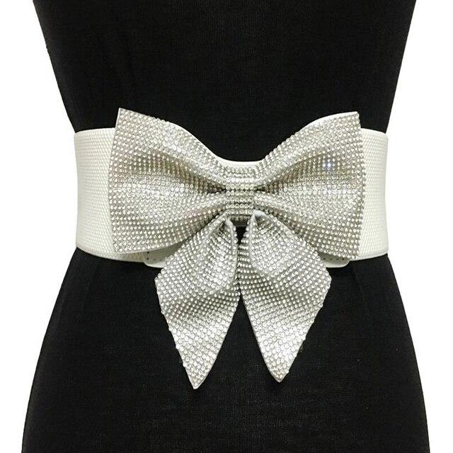 Alta calidad cristalina del rhinestone bow-Nudo cinturones para La novia de la boda de las mujeres elástica ancha correa del vestido nupcial Accesorios