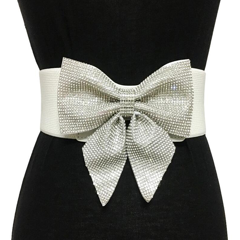 High Quality Casual Crystal Rhinestone Bow-knot Belts For Women Bride Wedding Party Elastic Wide Bridal Dress Belt Accessories