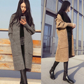 2016 New Women Korean Long Cardigan Crochet Casual Oversized Open Stitch Knitted Coat Thick Spring Autumn Cardigan Female