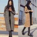 2016 Nuevas Mujeres de Corea chaqueta de Punto Crochet Puntada Abierto de Gran Tamaño Ocasional de Punto Grueso Abrigo de Primavera Otoño de la Rebeca Femenina