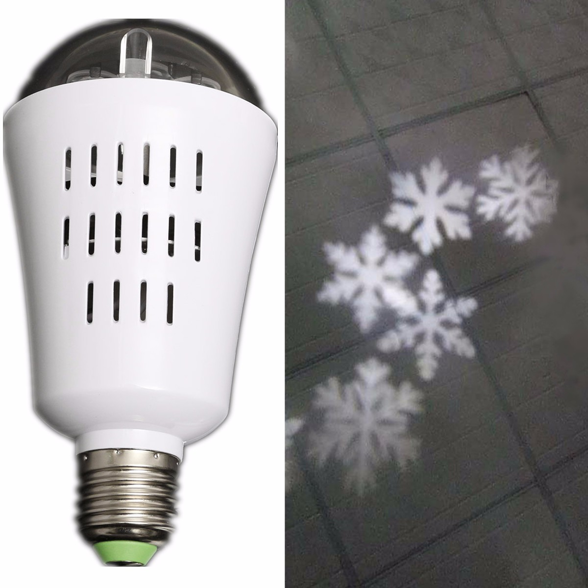E27 4w Led Moving Four Kinds Snowflake Laser Projector Lamp Bulb For Christmas Ac85-265v
