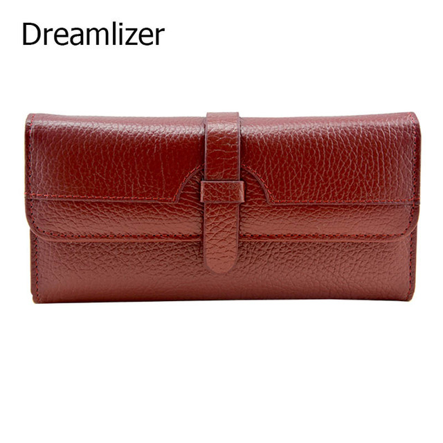 Dreamlizer Real Genuine Leather Women Wallet Carteira Carteras Mujer Long Wallets Female Lady Coin Card Purse Portefeuille Femme