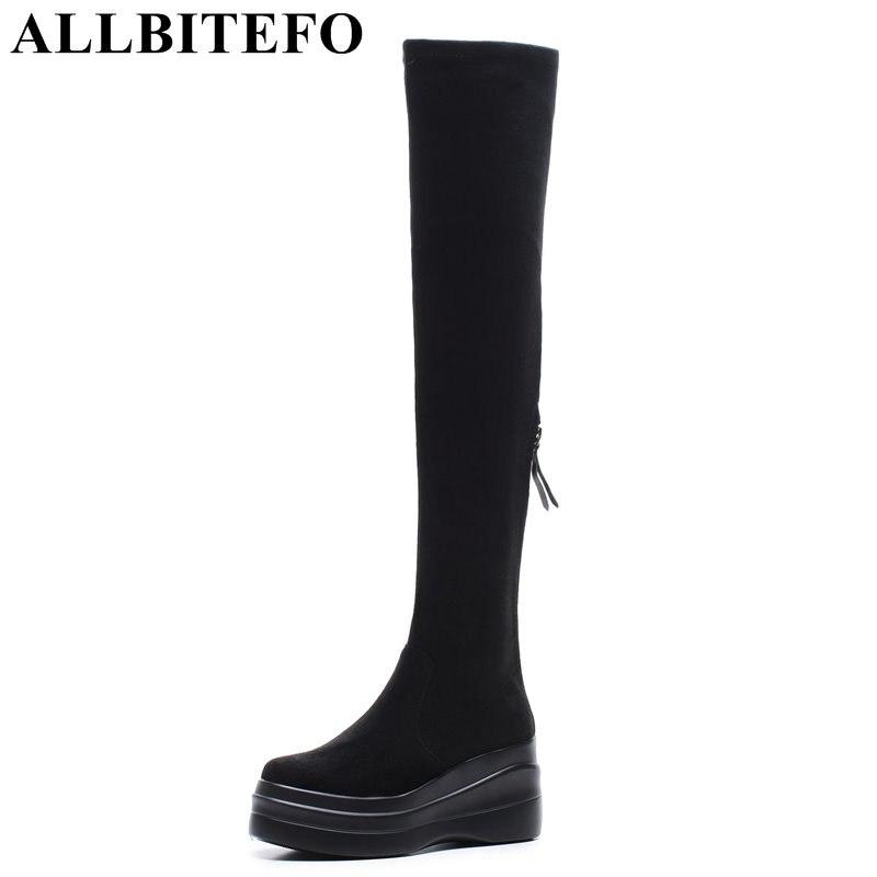 ALLBITEFO/модные брендовые женские сапоги из флока на платформе и высоком каблуке, пикантные Сапоги выше колена на танкетке, сапоги для девочек, ...