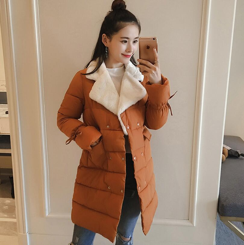 2017 new Winter Women Jackets Long Sleeve Slim down cotton Outwear Turn-down Collar Casual Coats Female Clothing a621 s 2xl 2 colors 2015 new winter women down coat long slim turn down collar zipper jacket female belt pocket outwear zs308
