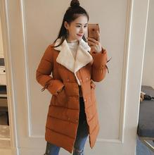 2017 new Winter Women Jackets Long Sleeve Slim down cotton Outwear Turn-down Collar Casual Coats Female Clothing a621
