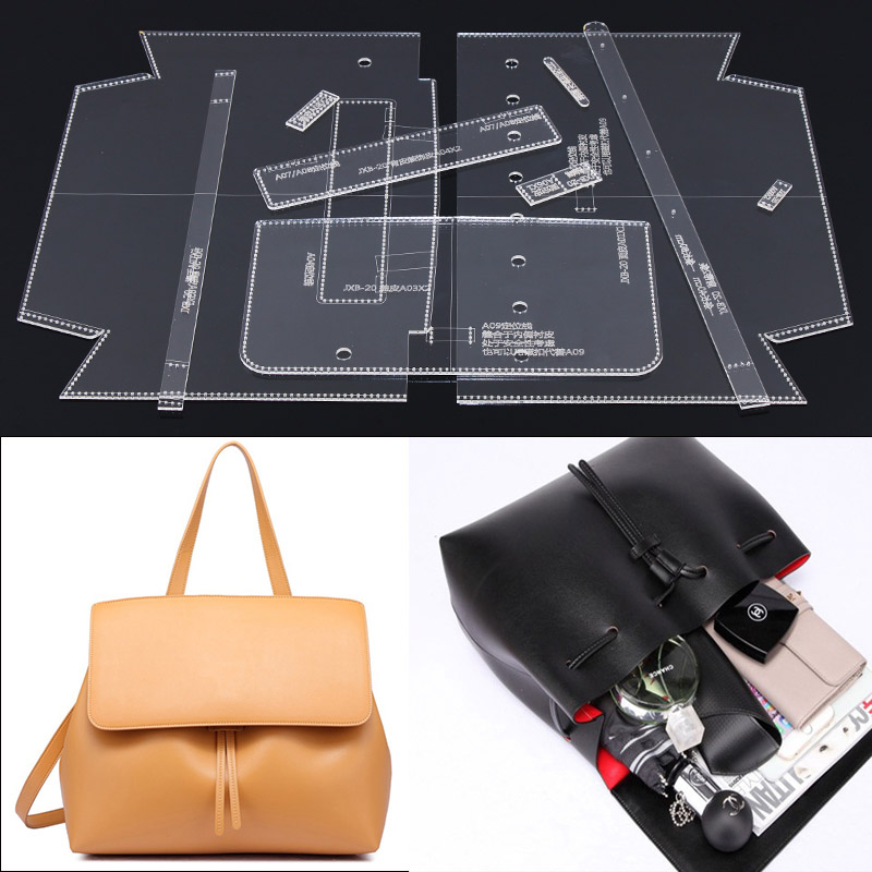 Single Shoulder Satchel Bag Handbag Pattern DIY Handmade Leather Leather Durable Acrylic Mould 29x24x9cm