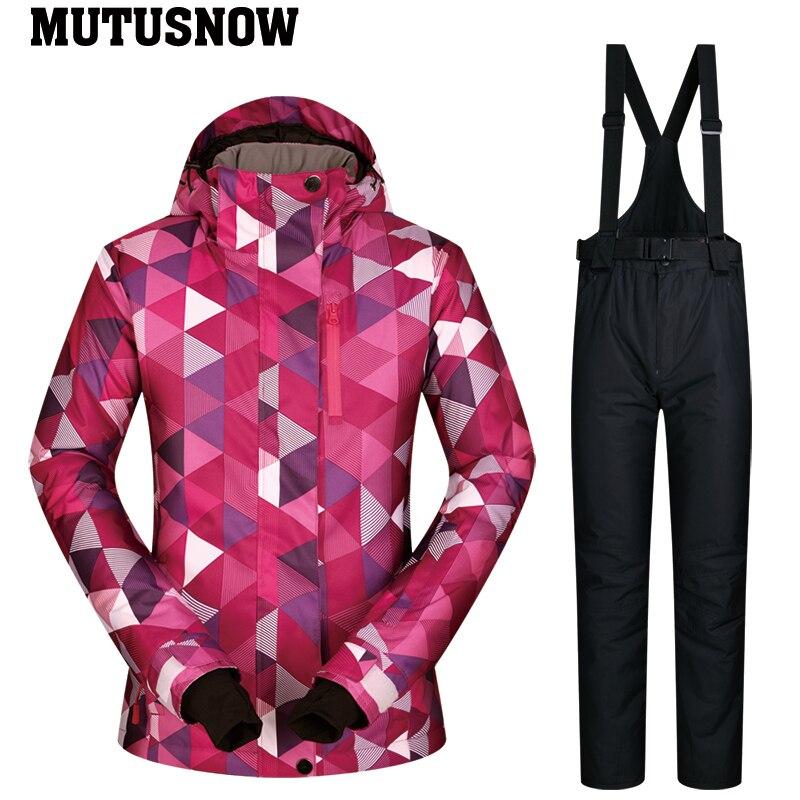 Combinaison de Ski femmes marque 2019 nouvelle haute qualité snowboard neige Ski veste pantalon chaud imperméable coupe-vent hiver Sports de plein air - 4