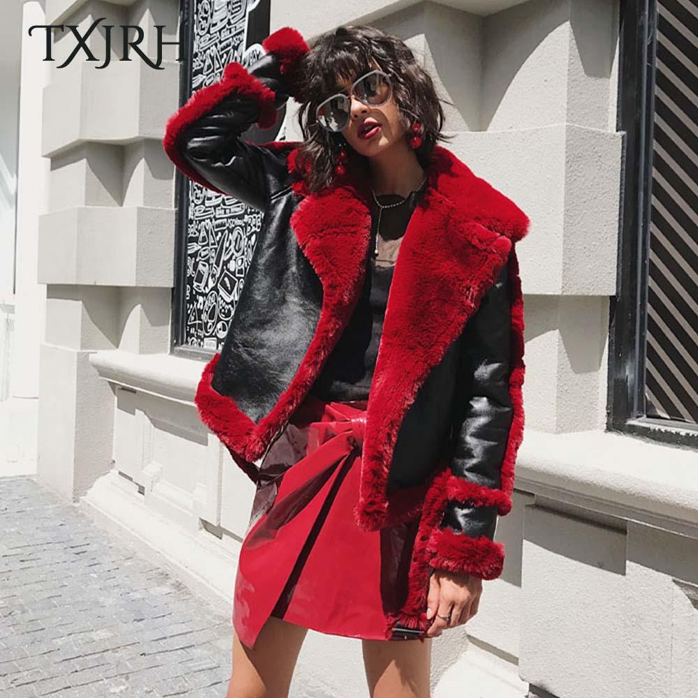 TXJRH Stylish Winter Red Large Lapel Fuax Fur Lined Spliced Faux   Leather   Jacket Woman Long Sleeve Short Warm Coat Outerwear Tops