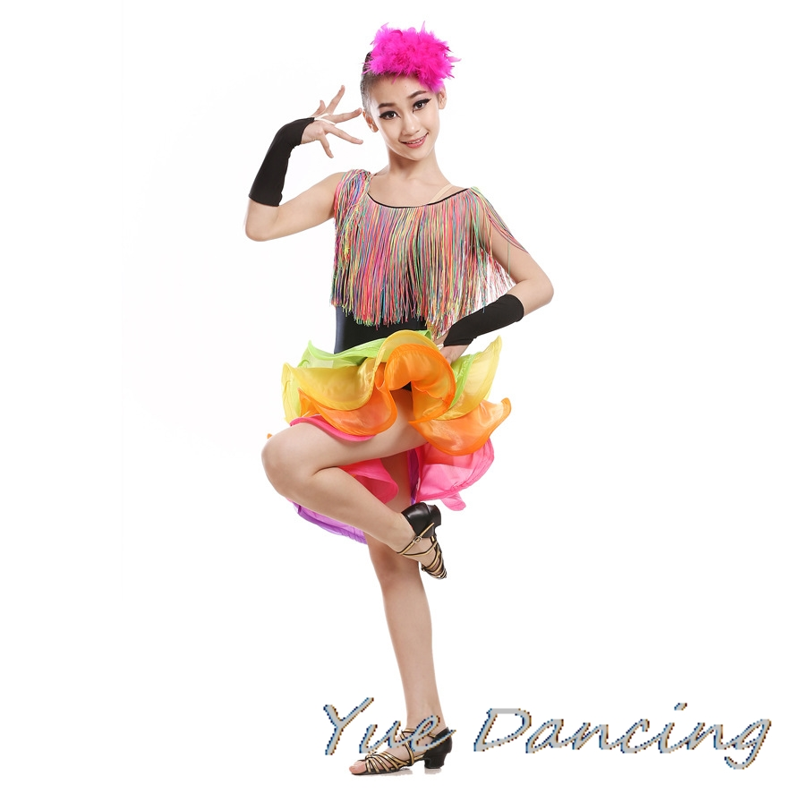 Rainbow Shine Tassel Fringe Latin Dress For Girls Salsa/Rumba/Ballroom Dance Dress Tango Costume
