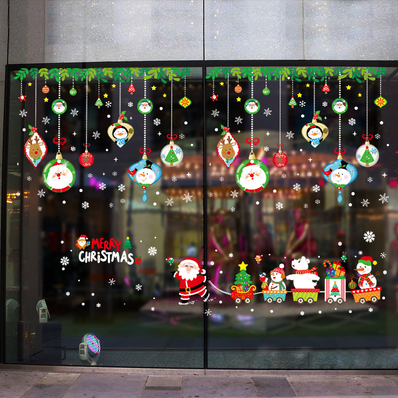4560cm 2019 Merry Christmas Decorations for Home Santa Claus Pull Train Glass Window New Year Decorative Stickers Navidad Natal (13)