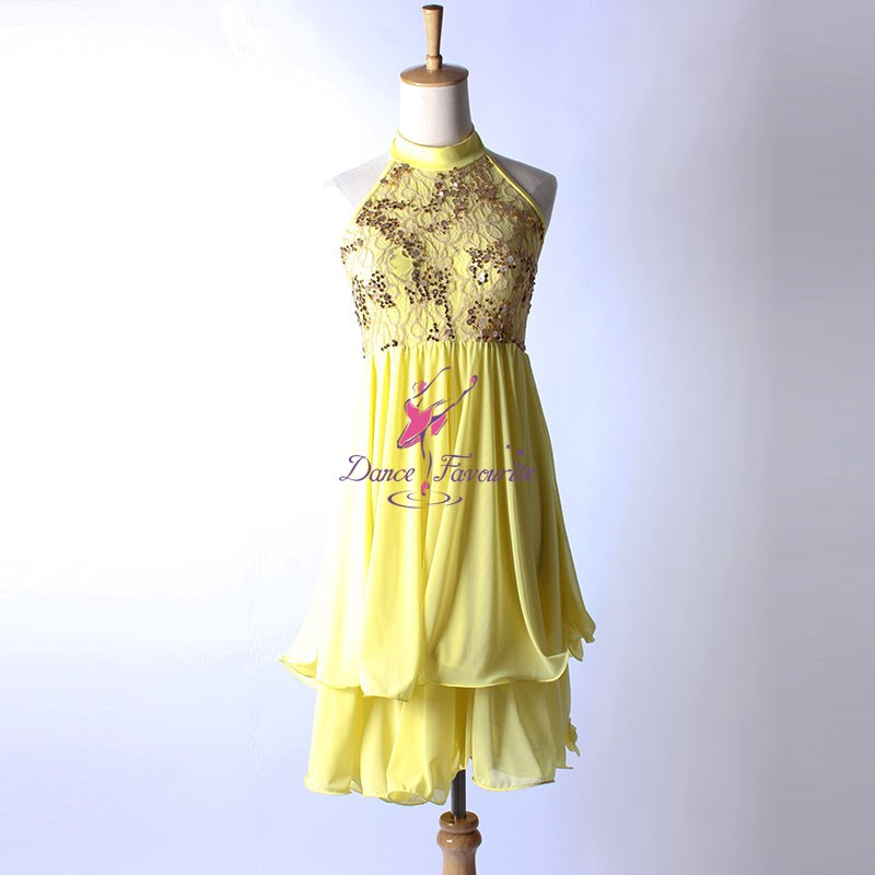 Yellow lyrical dance dresses
