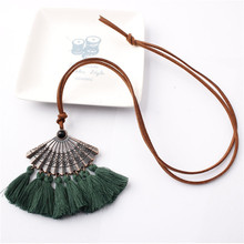 Bohemian Metal Fan Shaped Embroidery Tassel Pendant Leather Necklace Adjustable Fringed Big Choker Necklace For Women Jewelry artificial leather velvet x shaped choker necklace