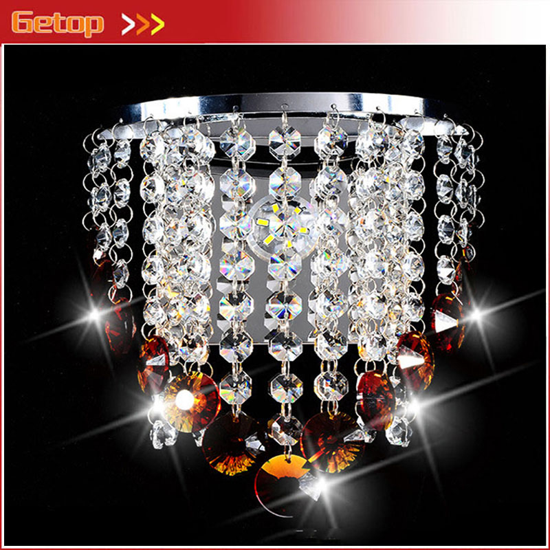 Getop Modern Crystal LED Wall Lamp Fixture Bedside Sitting Room Stairs Corridor Lustre Bracket Lamp Contracted Free Shipping contracted modern wall light sitting room corridor led wall lamp wall sconces lighting contains bulbs free shipping