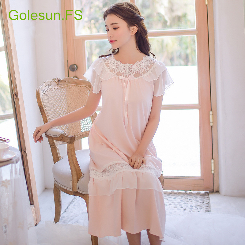 Summer Women Hollow Lace Pure Cotton White Princess Nightgown Ladies Casual Sleepwear Women Night wear Retro Style Dress 8053