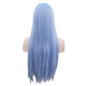 Image 3 - Joy & beauty 12 polegadas 28 polegada de seda em linha reta perucas sintéticas frente do laço céu azul longo resistente ao calor fibra cabelo parte livre perucas femininas