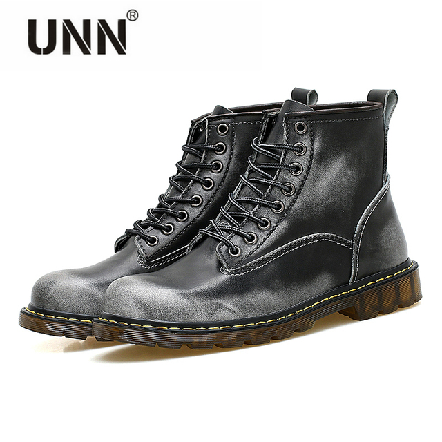 b8e9c6ccf0f6 UNN Winter Echtem Leder Schuhe Britischen Stil Freizeitschuhe Männer  Anzügen Arbeiten Martin Stiefel Männer Hohe Hilfe