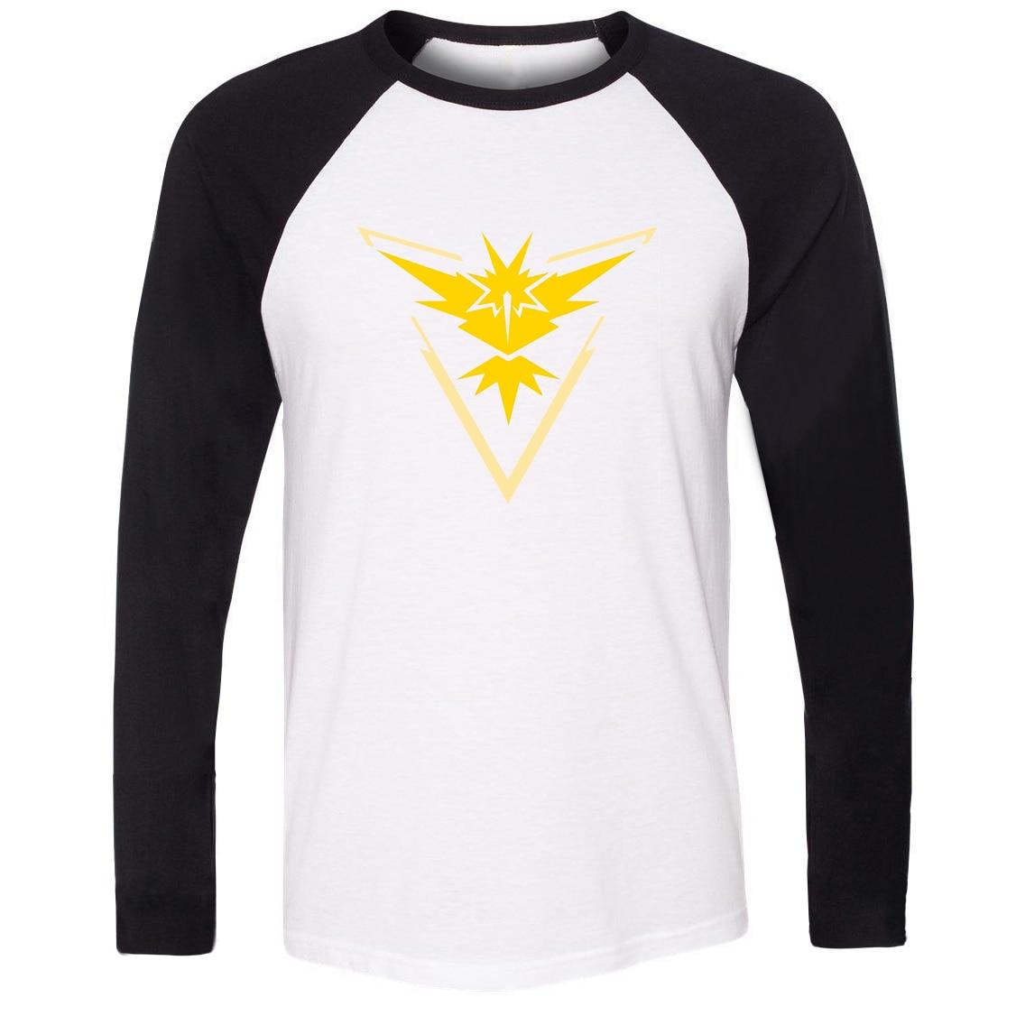 New Hot Unisex T-shirt Pokemon Go Game Fans Zapdos Team Yellow Team Pattern Raglan Long Sleeve Men T shirt Boy print Tee Tops