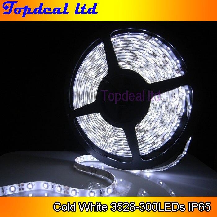 5M 300leds 60led//m Super Bright 3528 SMD LED Strip White IP65 Waterproof DC 12V
