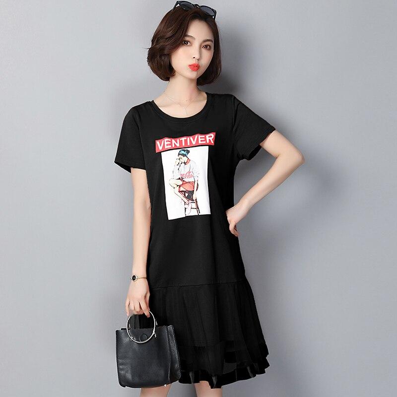 EAD Fashion Transparent Mesh Short Sleeve Summer Elegant Dress Loose O Neck Print Dresses Women Casual Plus Size Ladies Vestidos in Dresses from Women 39 s Clothing