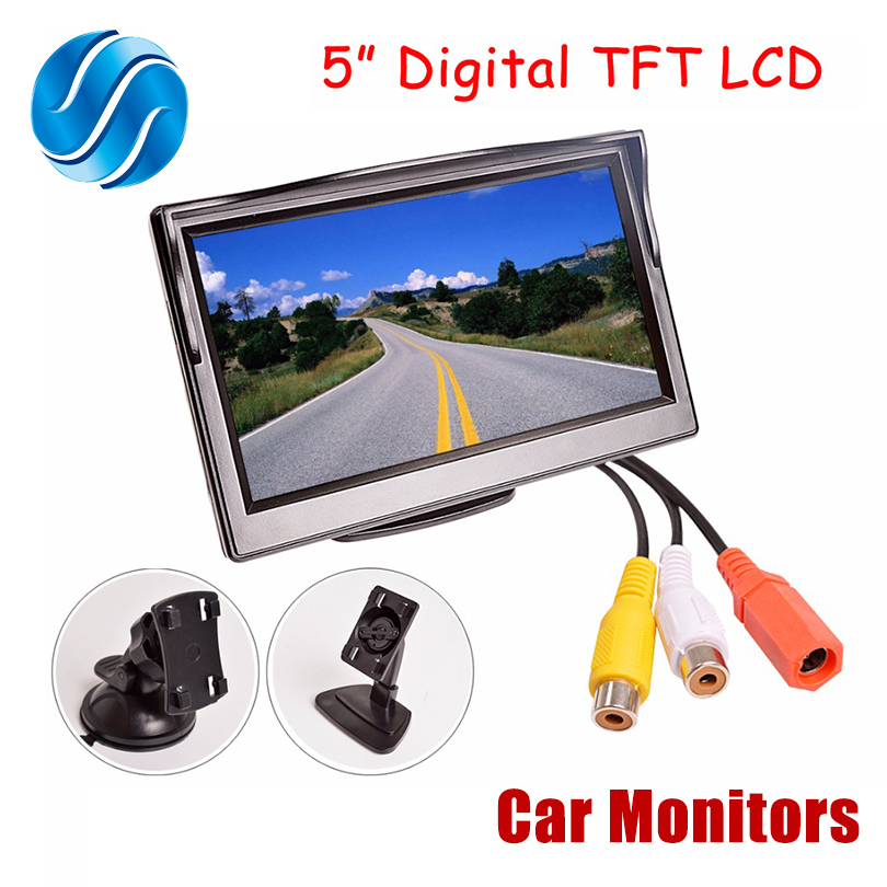 Car Monitor TFT LCD 5.0Inch 800*480 16:9Screen 2 Way Video Input HD Digital Colorful For Rear View Reverse Camera VCD DVD(China)