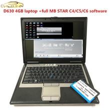 For Dell d630 laptop diagnostic PC 4g ram d630 computer with MB STAR C4 C5 C6 software 2019.12 HDD SSD Car Diagnostics Tools