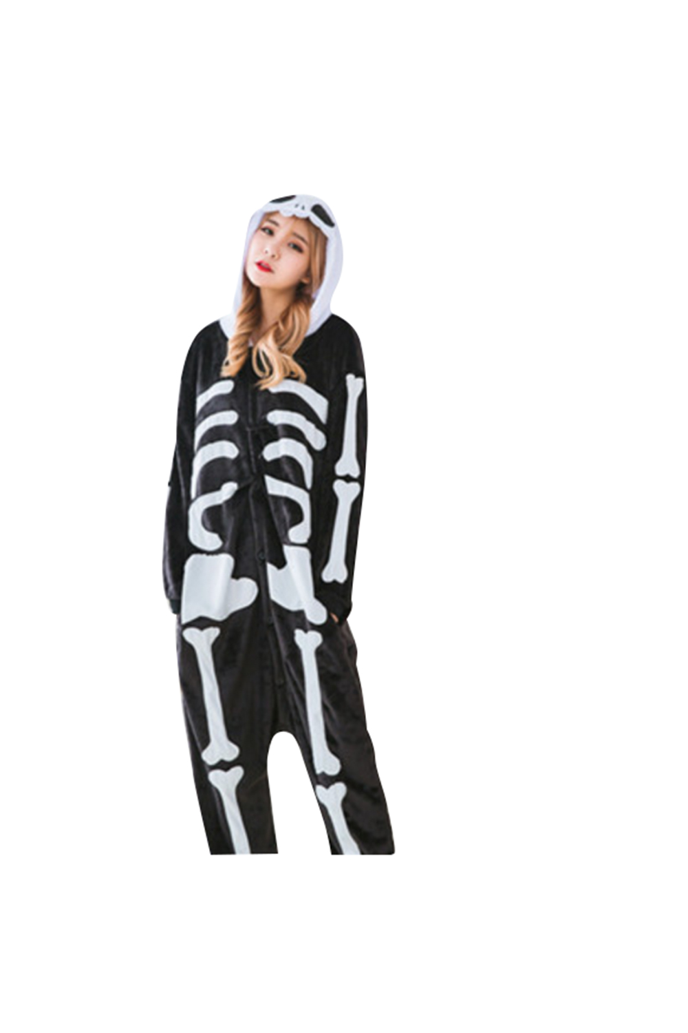 Women's Skeleton Halloween Jumpsuit robe Skeleton Jumpsuit Onesie Full set