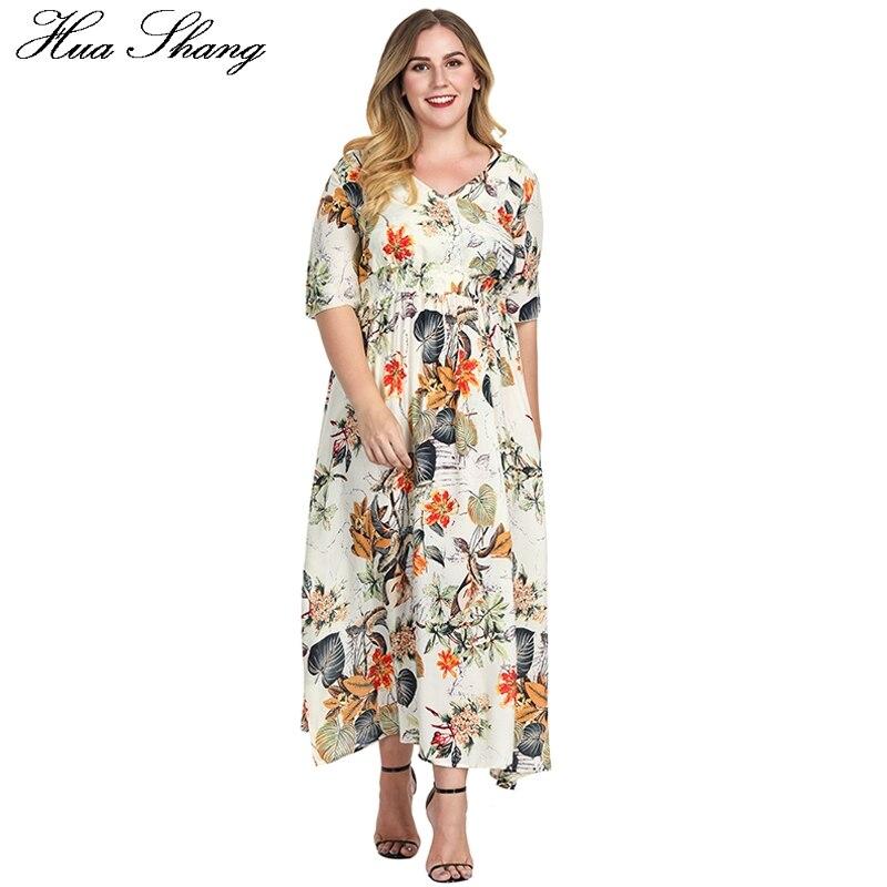 490c53b69 Comprar Floral Vestido de Verão Mais Mulheres do Tamanho Maxi Vestidos  Longos Tamanho Grande Impressão Com Decote Em V Botão Elástico Na Cintura  Túnica ...