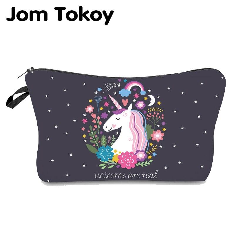 Jom Tokoy Cosmetic Bag Fashion Women Brand Makeup Bag Heat Transfer Printing Unicorn Cosmetic Organizer Bags