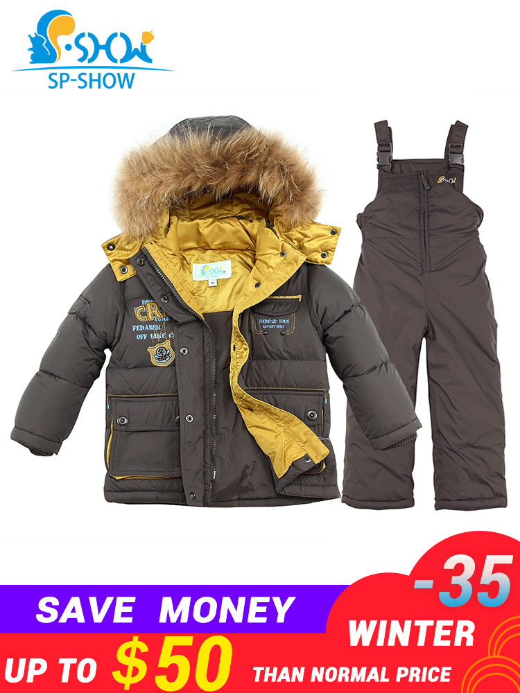 Spshow -35 Degrees Russia Winter Luxury Brands Children Hat Real Nature Fur Down Jacket Super Thick Down Snowsuit
