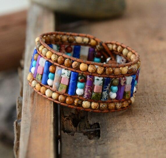 New Women Bracelets Tube Shape Natural Stones Leather Wrap Bracelet Semiprecious Stone Beaded Cuff Bracelet Dropshipping bracelet