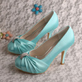Wedopus MW643 Customized Shoes Closed Toe Platform High Heels Bridal Wedding Shoes Aqua Blue