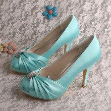 Wedopus MW643 Индивидуальные Обувь Закрыты Носок Платформы Высокие Каблуки Свадебная Свадебная Обувь Aqua Blue
