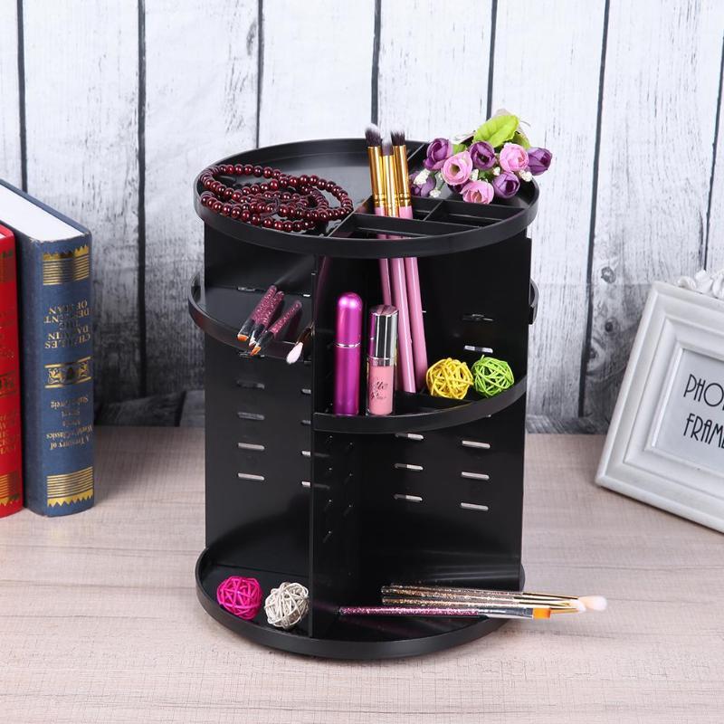 Plastic Rotating Jewelry Makeup Storage Box Desktop Cosmetic Organizer Makeup Brush Holder Large Capacity